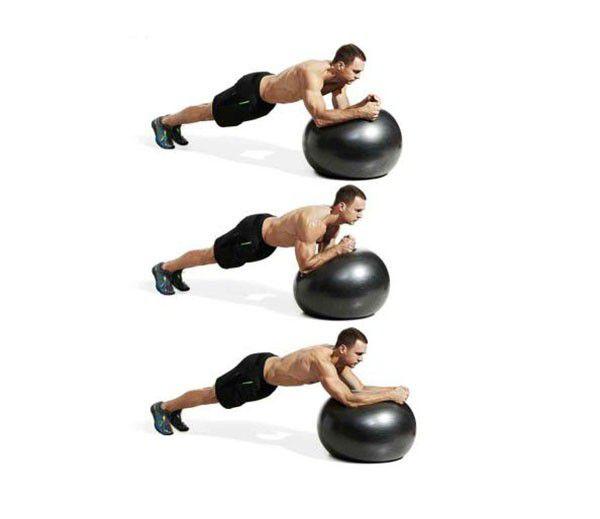 Động tác Plank xoay vòng với bóng Swiss Ball