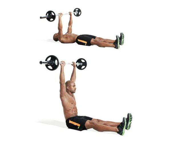 Động tác gập bụng với tạ đơn chân thẳng