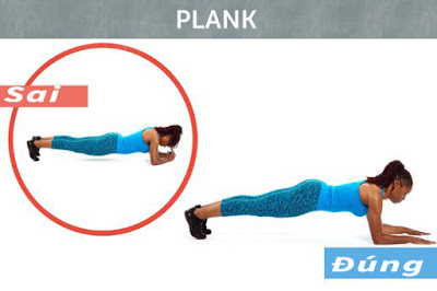 Tư thế sai và đúng của bài Plank