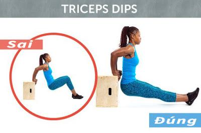 Tư thế sai và đúng củaTriceps Dips