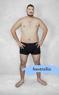 """Người Úc đã chứng minh được một điều, rằng chẳng cần sáu múi hay ngực to tay cuồn cuộn mới là đẹp. Bụng mỡ cũng là đẹp trai! Bạn nào béo giờ đây có thể vỗ ngực tự hào nói rằng: """"Tao đẹp trai kiểu Úc!"""""""