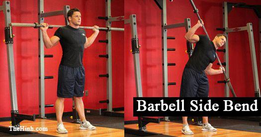 Nghiêng người tập cơ liên sườn Barbell Side Bend