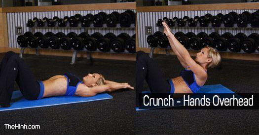 Crunch Hands Overhead - Bài tập gập bụng tay qua đầu