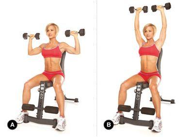 Seated Shoulder Press - Ngồi đẩy tạ đơn