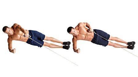 Bài tập Plank nghiêng kéo cáp