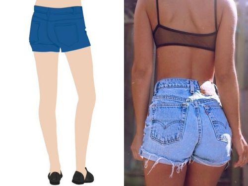 Cách mặc quần short đẹp với mông chảy xệ