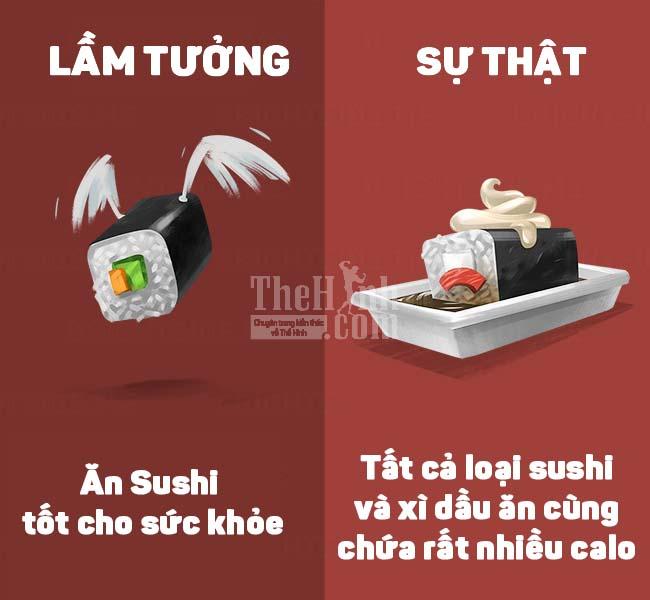 Ăn sushi khiến bạn tăng cân chóng mặt