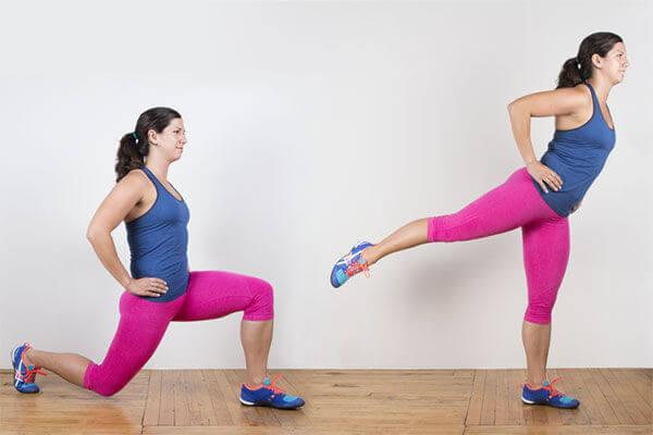 Chùng chân và đá chân sau - Lunge with Rear Leg Raise