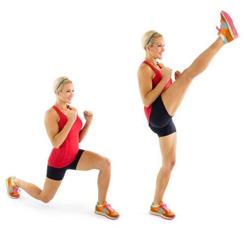 Chùng chân kết hợp đá chân - Reverse Lunge Kick