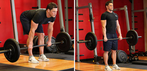 stiff legged barbell deadlift