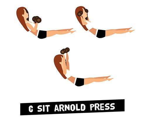 Ngồi và đẩy tạ kiểu Arnold - C Sit & Arnold Press