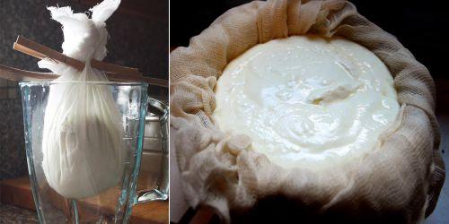 Bỏ sữa chua vào khăn lọc và cột lạ để lọc nếu không có ray lọc