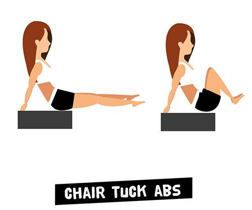 Ngồi trên ghế gập bụng - Chair Tuck Abs