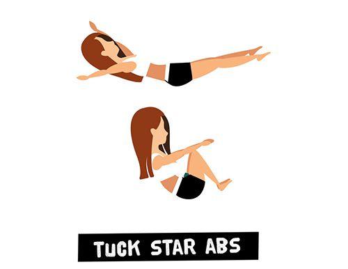 Gập bụng và bung người hình ngôi sao - Tuck Star Abs