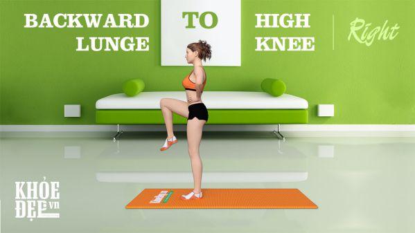 Backward Lunge to High Knee – Bài tập chân mông đùi cho nữ