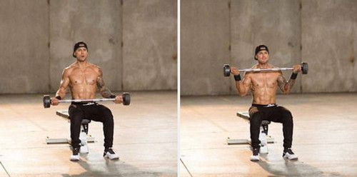 Seated Wide Grip Barbell Curl