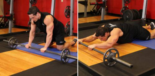 Barbell AB Roll out on Knees
