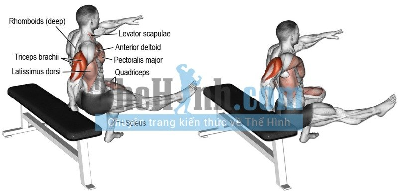 One arm bench dip