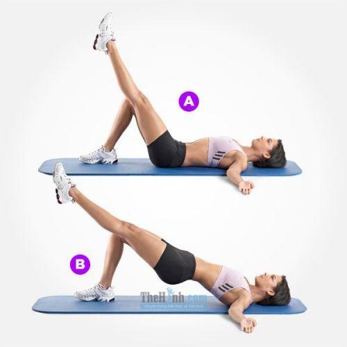 Single Leg Hip Raise - Nâng hông 1 chân duỗi thẳng