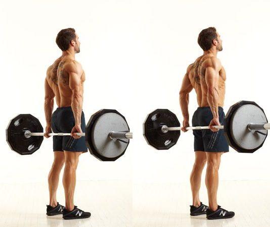 Bài tập cầu vai hiệu quả nhất cho nam - Barbell Shrug Behind The Back