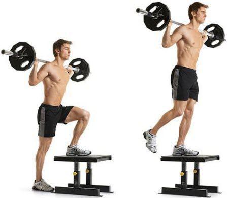 Barbell Step Up - Tập đùi trước cho nam hiệu quả tại nhà siêu dễ