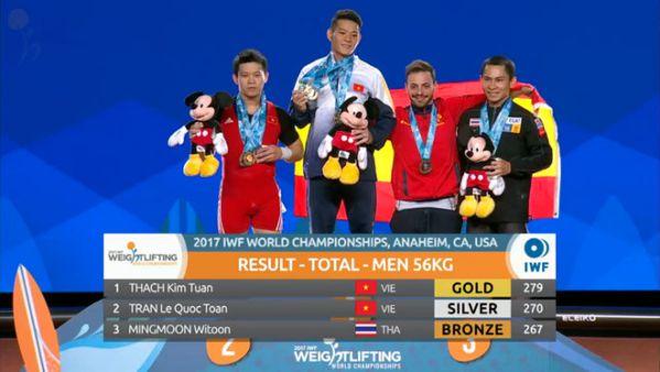 Việt Nam tiếp tục vô địch cử tạ thế giới diễn ra tại Mỹ