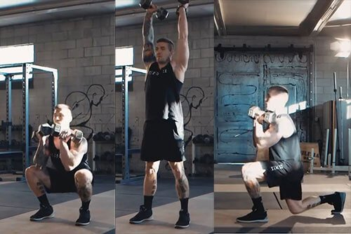 Dumbbell Thruster to Reverse Lunge