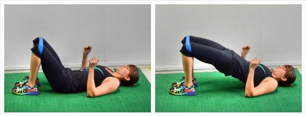 Glute bridge with band