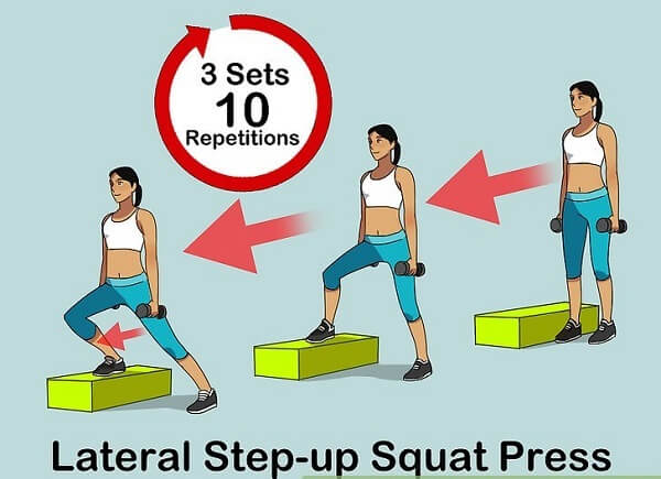 Tập lateral step-up squat presses