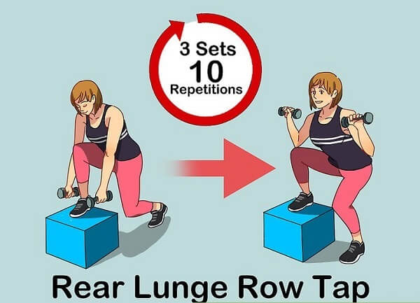 Tập rear lunge row taps