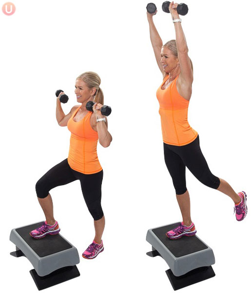 Step-ups with Overhead Press
