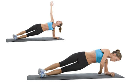 side plank raise with rotation