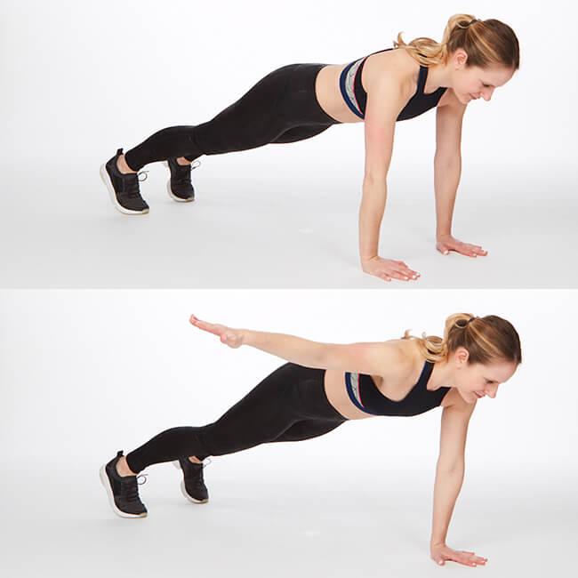 Bài tập lưng Plank with Lateral Arm Raise